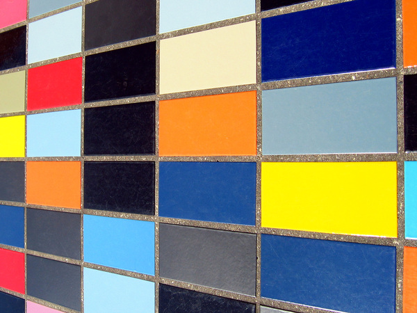 Colored tiles perspective: colorful wall tiles in perspective